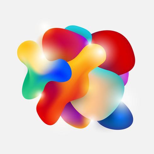 Elementos gráficos fluindo modernos abstratos da forma fluida. Forma de cor dinâmica gradiente. Ilustração vetorial