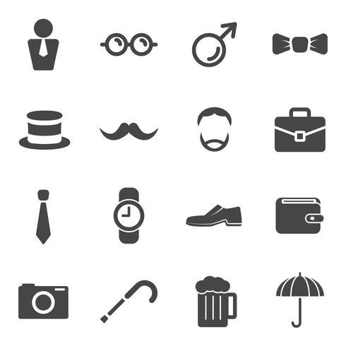 Hombres bigote apoyos iconos de elementos. Los participantes cultivan un bigote y accesorios de caballeros. Moda de gafas con máscara de sombrero y celebración. Conjunto de iconos planos de colección. Iconos blancos negros para la decoración web.