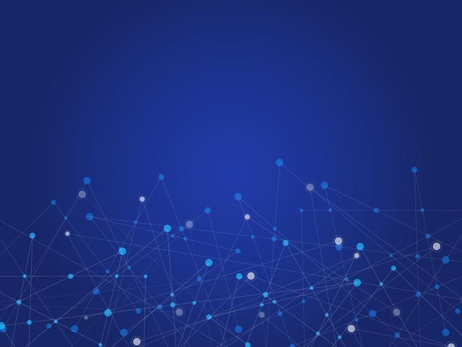 Blauwe technologie en Wetenschap abstracte achtergrond met blauwe en witte lijnpunt. Bedrijfs- en verbindingsconcept. Futuristisch en industrie 4.0-concept. Internet-cybergegevensverbinding en netwerkthema.