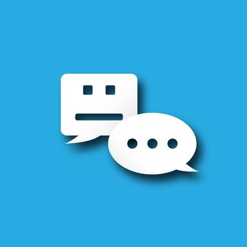 Icona di messaggistica di avviso della bolla di notifica di Chatbot con tecnologia di comunicazione utente personale. Concetto di sistema di trasformazione digitale di notifica push. Vettore grafico di simbolo di progettazione piana bianca blu