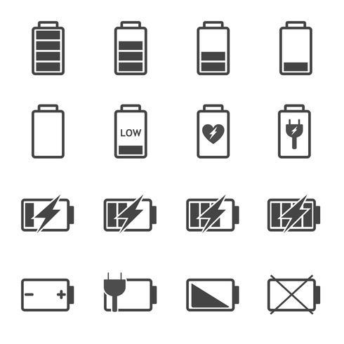 Conjunto de vectores de iconos de batería. Concepto de potencia y combustible