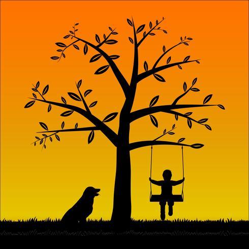 Silhouette garçon sur la balançoire avec son chien vecteur