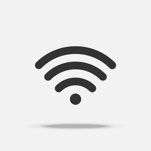 Wifi internet flat icon with shadow vector