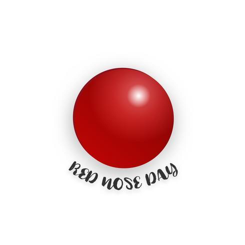 Roter Nasentag auf lokalisiertem weißem Hintergrund. Feiertags- und Tapetenkonzept