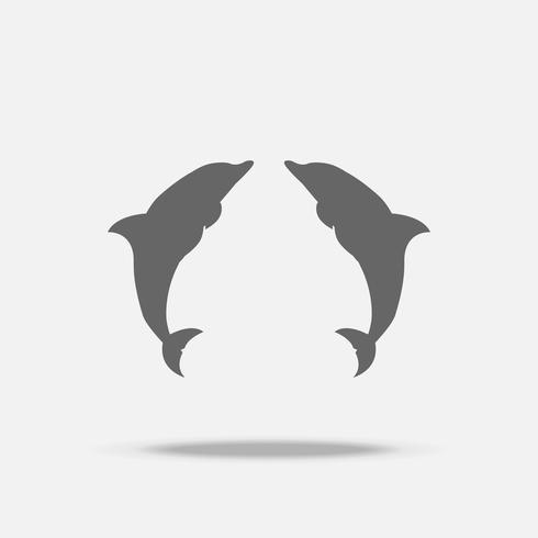 Design-Vektorikone der Zwillingsdelfine flache mit Schatten