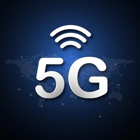 Abstrakter Hintergrund der zellularen Mobilkommunikation 5G mit Linie Punktverbindungsübertragung des globalen Netzwerks. Digitales Transformations- und Technologiekonzept. Massives zukünftiges Geräteanschluss-Hochgeschwindigkeitsinternet