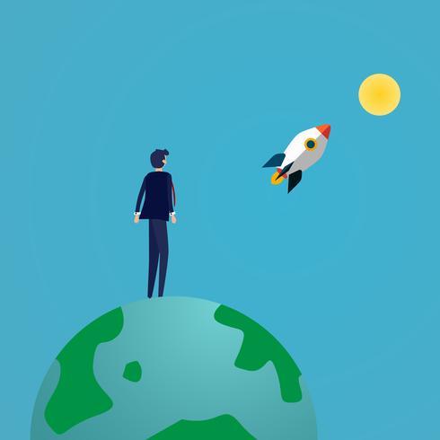 Hombre de negocios que mira el lanzamiento del cohete a la luna encima de la tierra del eco. El éxito del negocio y el concepto de visión. Buena actitud y concepto de logro. Ilustración vectorial vector