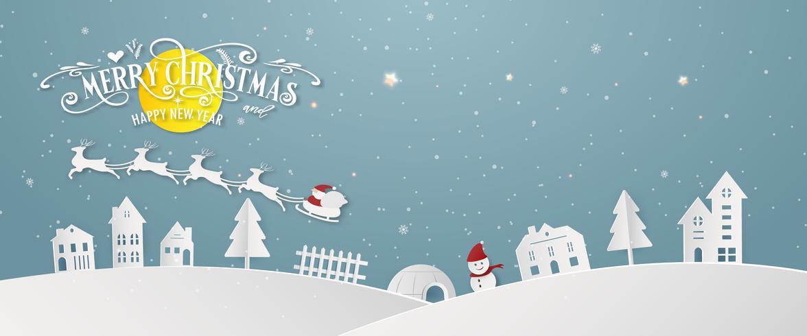 Vrolijke de dagnacht van de Kerstmis sneeuwstad en de gelukkige van het het festivaleind van het nieuwe jaar blauwe Kerstmis van de het jaarsilhouet de achtergrond van de de groetkaart van Santa Claus en van de hertendecoratie abstracte behangachtergrond.