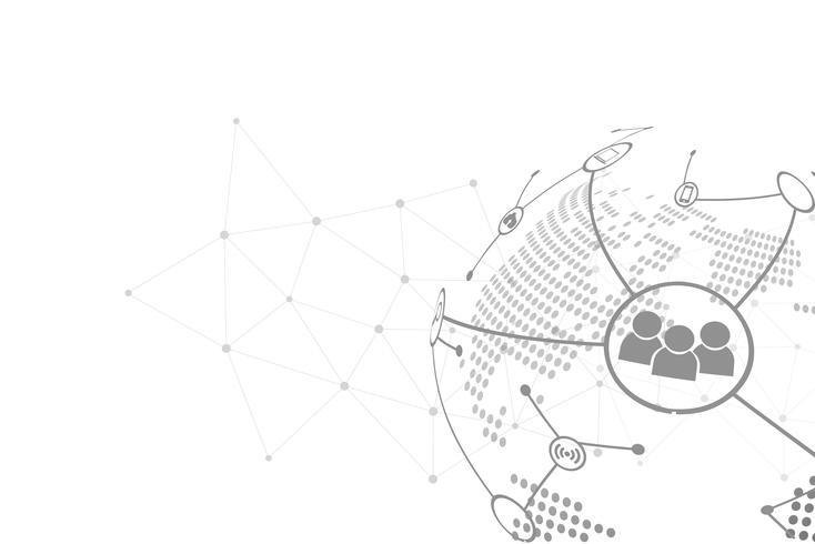 Weißer abstrakter Hintergrundvektor. Grau abstrakt. Hintergrund des modernen Designs für Berichts- und Projektpräsentationsschablone. Vektor-Illustration Grafik. Punktlinie und Rundschreiben. Technologieanbindung global