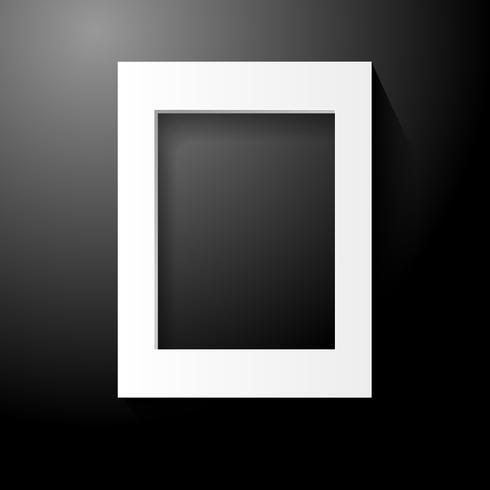 Cadre photo en bois blanc sur fond noir. Décoration d'intérieur et concept d'intérieur. Illustration vectorielle vecteur