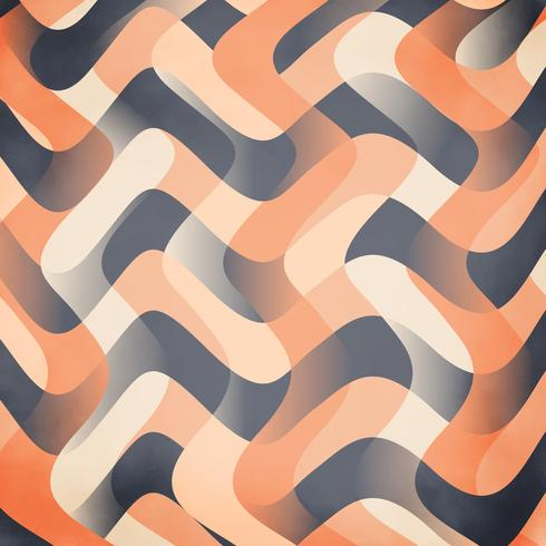 Satin Peach ribbon wave wallpaper, blue and orange