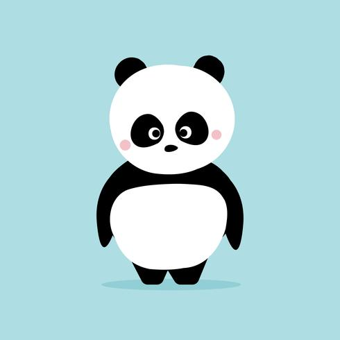 Gullig panda som står på blå bakgrund. Kawaii karaktärs tecknad designkoncept. vektor