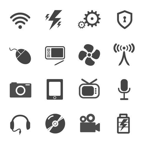 Conjunto de vectores de iconos electrónicos y eléctricos