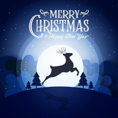 La notte nevosa di Buon Natale ed i cervi della siluetta del partito dell'ultimo dell'anno di festival del buon anno e la cartolina d'auguri blu della decorazione di calligrafia del testo sottraggono il fondo della carta da parati. Vettore di