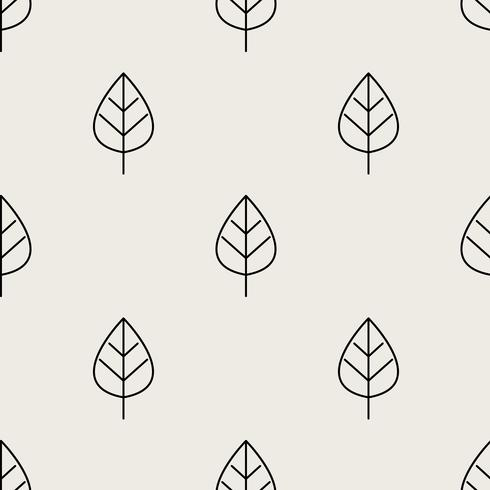Seamless pattern background. Abstract and Classical concept. Geometric creative design stylish theme. Illustration vector. Black and white color. Leaf shape for Nature and Environment day