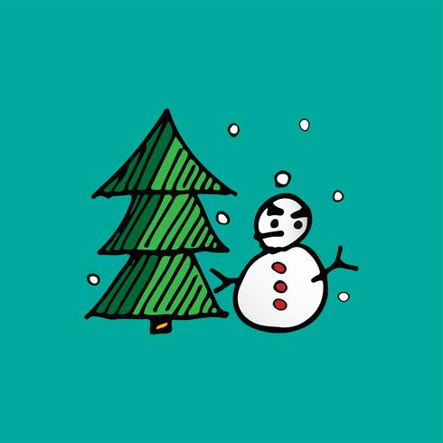 Vector de Navidad muñeco de nieve y árbol de Navidad doodle. Concepto de fiesta y festival. Feliz Navidad y feliz año nuevo tema