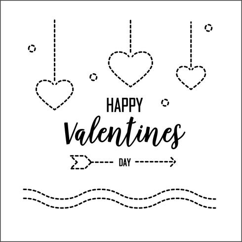 Carte de voeux Happy Valentines Day avec la ligne pointillée. Conception graphique et concept de l'amour de vacances. Illustration vectorielle vecteur