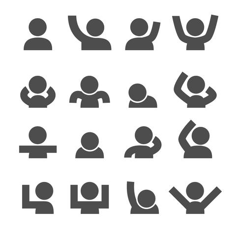 People icons. Mood and Gesture concept. Glyph and outlines stroke icons theme. Vector illustration graphic design collection set