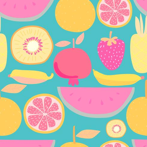 Seamless pattern with fruit background. Vector illustrations for gift wrap design.