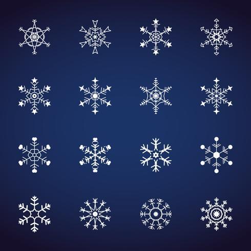 Winter-Schneeflockenikonen eingestellt. Flaches Design-Ikonen. Illustrationsvektoren für Weihnachten und Neujahr. Hand gezeichnete Zusammenfassung und Linie.