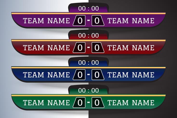 Tableau d'affichage de football Modèle numérique d'écran graphique pour la diffusion de football, football ou futsal. modèle de conception illustration vectorielle pour le match de la ligue de football. Conception de fichiers vectoriels EPS10