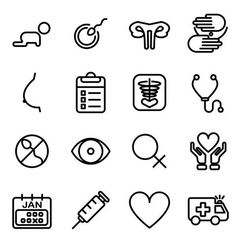 Infertility of woman icons. Medical and Healthcare concept. Thin line icon and outline stroke theme. Pictogram theme. vector
