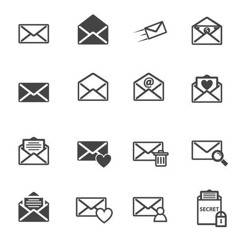 Icono de ilustración de vector de carta y correo electrónico de sobres