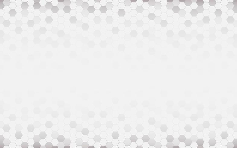 Fundo abstrato branco com hexágono. Resumo cinzento. Conceito de tecnologia e textura futurista. Espaço em branco e cópia para o texto.
