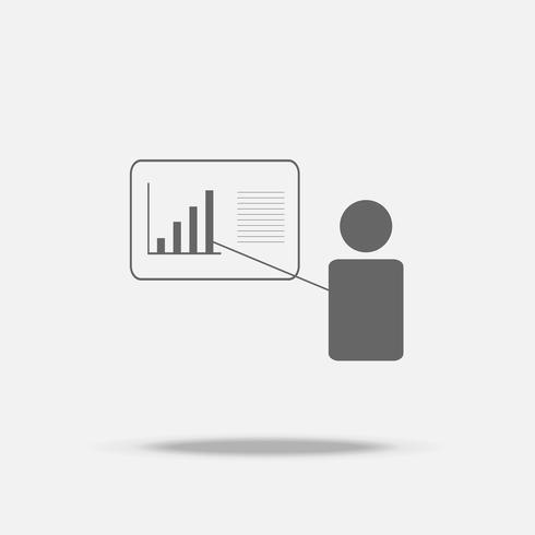 Ícone de vetor de design plano de apresentação empresário com sombra