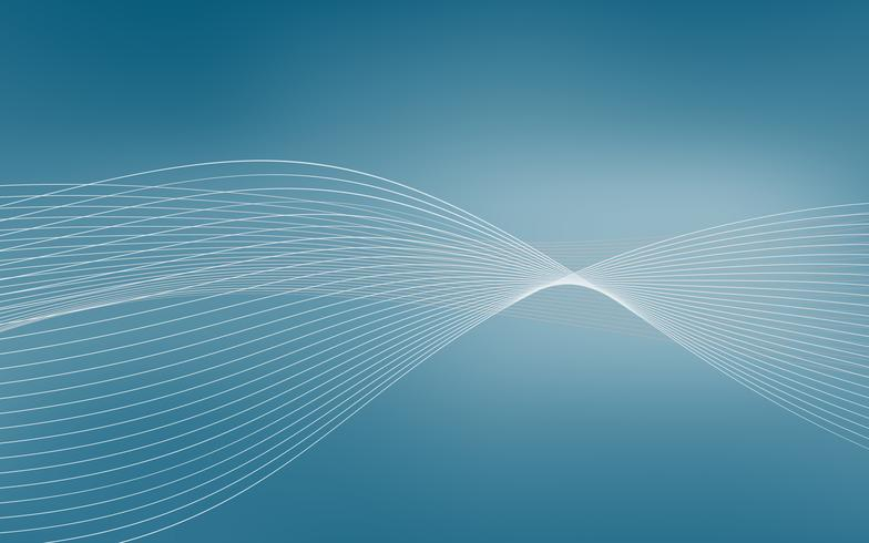 Abstract blue wave forming dynamic vector background with lines. Vector illustartion. For presentation template and other projects.