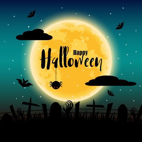 Feliz día de halloween con luna llena en el fondo. Murciélagos y elementos de araña y cadáver. Concepto de fiesta y festival. Tema fantasma y terror. Tarjeta de felicitación y tema de decoración. Ilustración vectorial