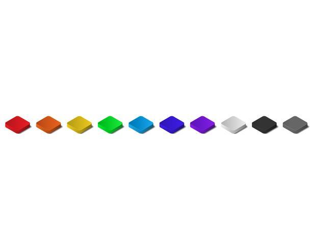 Kleurrijke isometrische top 3D-knoppen met schaduw