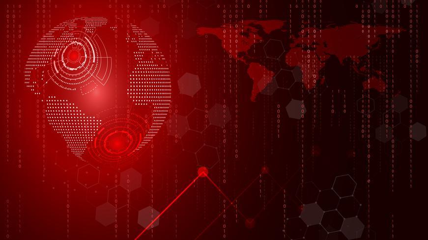 Fondo astratto del cerchio e di informatica di tecnologia rosso. Affari e connessione. Futuristico e concetto di industria 4.0. Internet cyber e tema di rete.