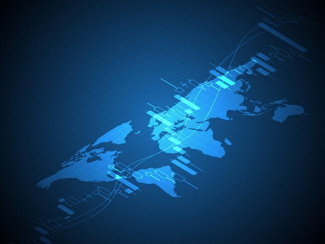 Weltkarte mit Aktien und Forex Candle Stick Graph Chart