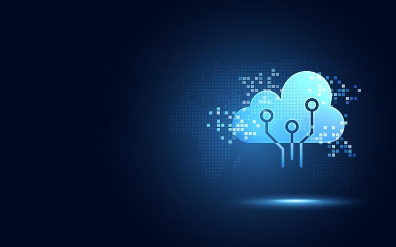 Futuristische blauwe wolk met abstracte abstracte de technologieachtergrond van de pixel digitale transformatie. Kunstmatige intelligentie en big data-concept. 4.0 en wifi wifi-gegevensopslagcommunicatie voor het bedrijfsleven.