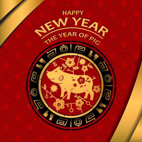 Año nuevo chino 2019 y El año del cerdo dorado. Concepto de fiesta y festival. Tema del zodiaco. Feliz año nuevo tema. Fondo de ilustración vectorial