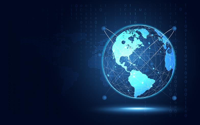 Fondo futuristico di tecnologia dell'estratto della terra blu. Trasformazione digitale di intelligenza artificiale e concetto di big data. Business quantum concetto di comunicazione di rete internet. Illustrazione vettoriale