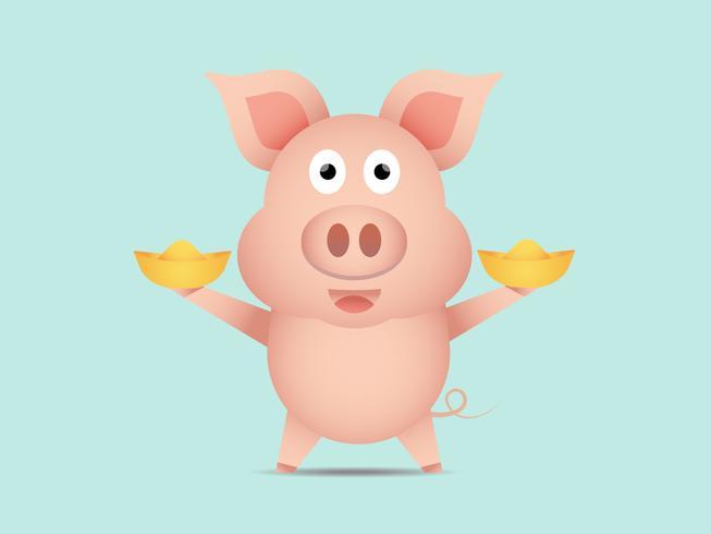 schattig varken met goud