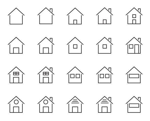 20 Hem och hus ikoner uppsättning. Levande människor tema. Vit isolerad bakgrund. Tecken och symbolkoncept. Tunna linjeikoner