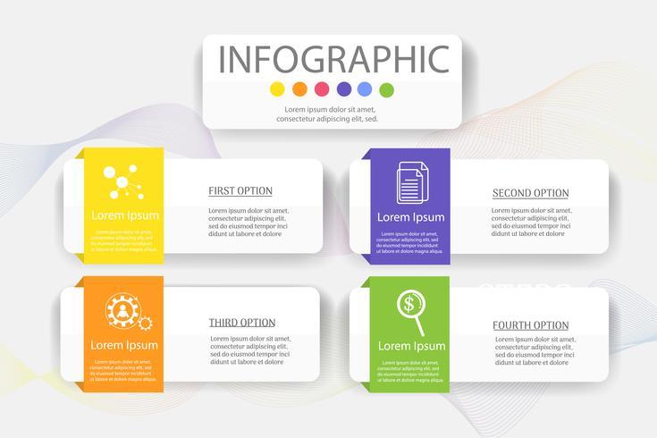Projete o elemento infographic da carta das etapas do molde 4 do negócio com data do lugar para apresentações, vetor EPS10.