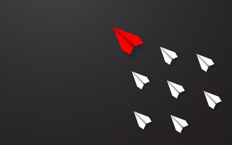 Liderança do conceito de avião de papel vermelho entre o avião de papel branco. Homem-chave e negócios bem-sucedidos juntos em uma direção. Vetor preto do fundo da ilustração da textura.