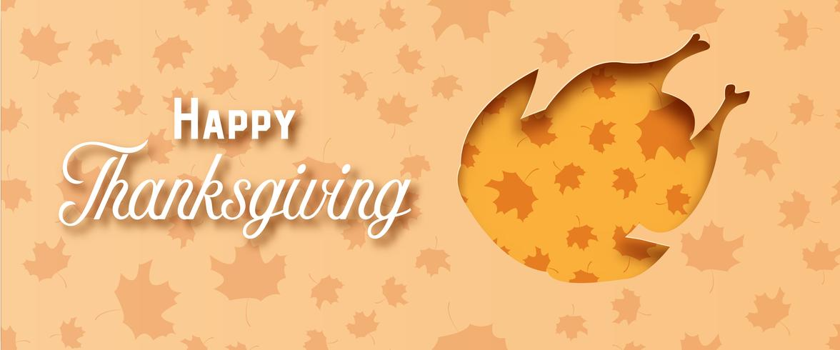 Happy Thanksgiving day with turkey paper art on yellow orange background. Holiday and festival concept. Decoration and greeting card theme. Papercraft and origami for dinner food restaurant menu vector