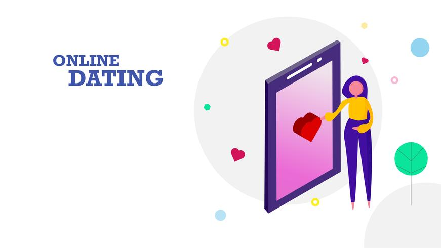 Happy Valentine's day flat design background. Woman sending heart emotion icon by touching screen on mobile phone to her boyfriend. Graphic design concept. Vector illustration
