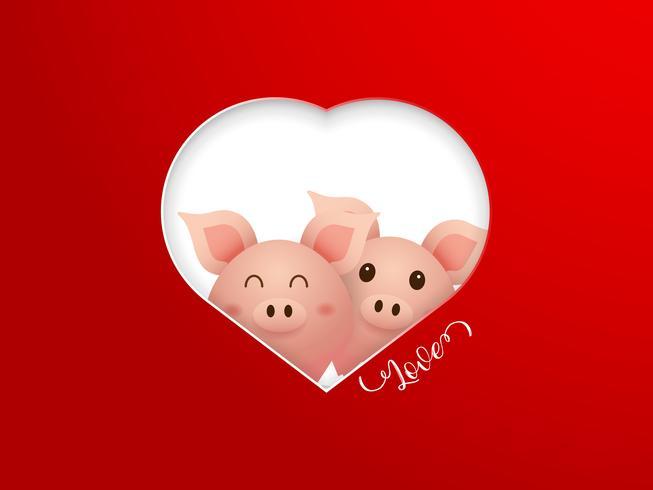 casal bonito porco com moldura de forma de coração