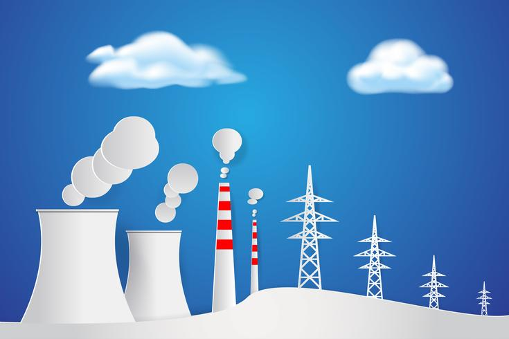 Industrial factory in nature Paper art Background. Electric power plant concept. Environment theme.