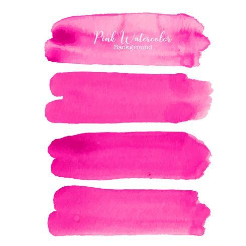 Aquarelle de pinceau rose sur fond blanc. Illustration vectorielle