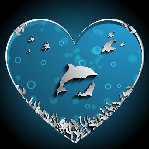 Aimer des dauphins sous le vecteur de la mer papercut, oeuvre d'art. Concept Nature et Océan. Thème dauphin et animal.