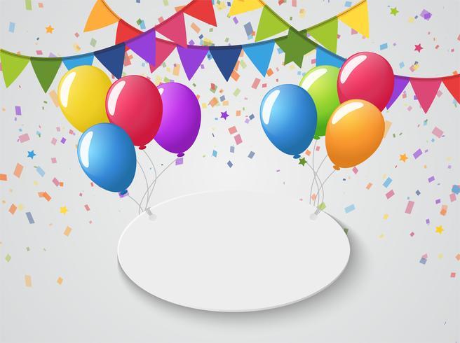 Palloncini colorati e bandiere alle feste e celebrazioni Congratulazioni festa.