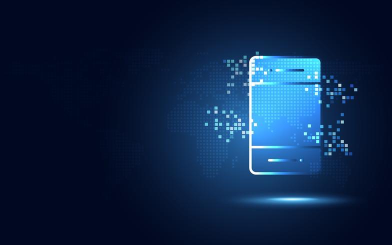 Smartphone azul futurista con el fondo abstracto de la tecnología de los pixeles. Inteligencia artificial de transformación digital y concepto de big data. Comunicación de red de internet cuántica de negocios