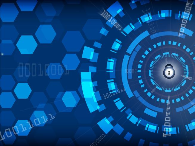 Blå Cyber Security Background med lås och digitalt, teknik och information koncept